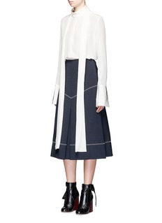Ellery 'Veelee' zigzag virgin wool blend A-line skirt