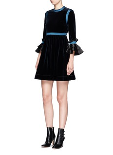 Roksanda 'Neruda' ruffled organdy cuff satin trim velvet dress