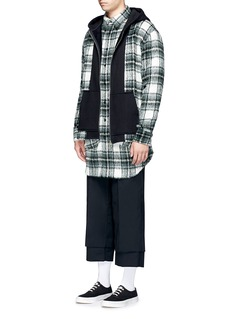 The World Is Your Oyster Check plaid hooded fleece shirt jacket