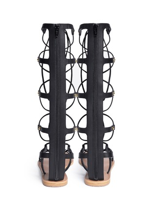 Back View - Click To Enlarge - Pedder Red - 'Abigale' lace-up leather gladiator sandals