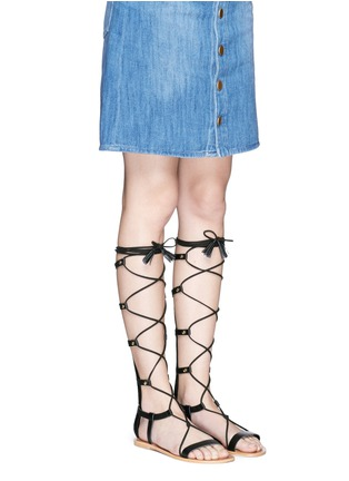 Figure View - Click To Enlarge - Pedder Red - 'Abigale' lace-up leather gladiator sandals