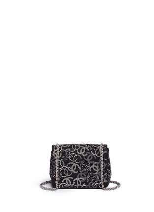 Back View - Click To Enlarge - Vintage Chanel - Embellished logo mini tweed flap bag