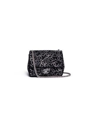 Main View - Click To Enlarge - Vintage Chanel - Embellished logo mini tweed flap bag