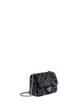 Figure View - Click To Enlarge - Vintage Chanel - Embellished logo mini tweed flap bag