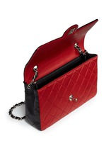 Colourblock quilted lambskin leather flap bag