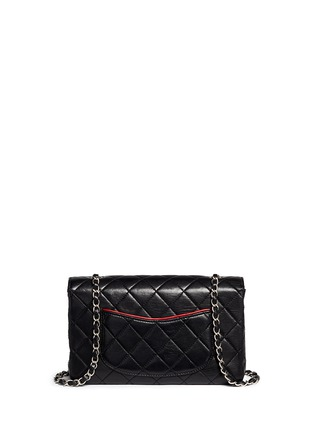 Back View - Click To Enlarge - Vintage Chanel - Colourblock quilted lambskin leather flap bag
