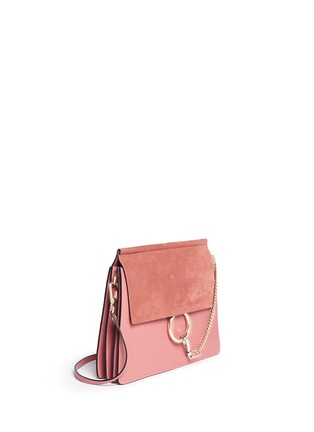 Front View - Click To Enlarge - Chloé - 'Fay' medium suede flap leather shoulder bag