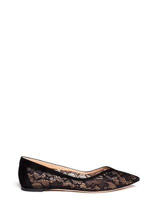 Main View - Click To Enlarge - Gianvito Rossi - Suede trim lace skimmer flats