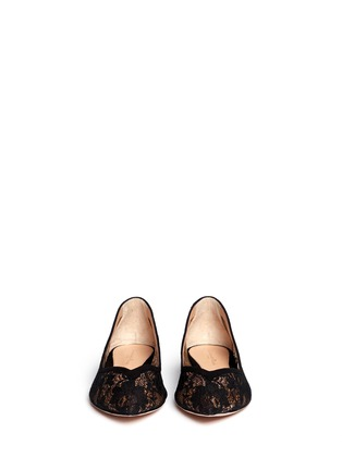 Figure View - Click To Enlarge - Gianvito Rossi - Suede trim lace skimmer flats