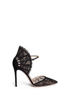 GIANVITO ROSSI Lace fan counter d'Orsay pumps
