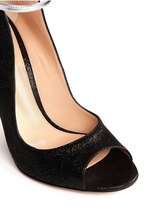 Gianvito Rossi - Shiny cracked suede peep toe pumps