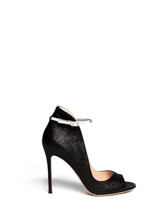 GIANVITO ROSSI Shiny cracked suede ankle strap pumps