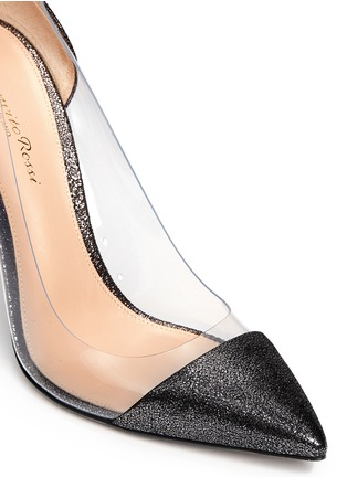 Detail View - Click To Enlarge - Gianvito Rossi - Clear PVC metallic foil suede pumps