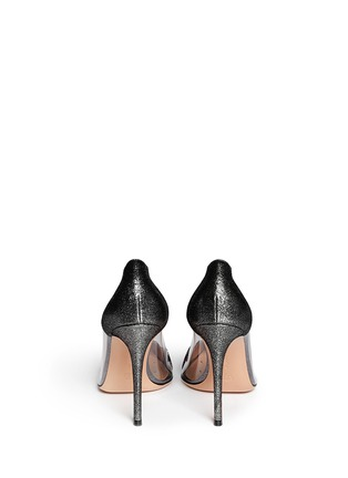 Back View - Click To Enlarge - Gianvito Rossi - Clear PVC metallic foil suede pumps
