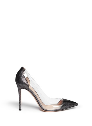 Main View - Click To Enlarge - Gianvito Rossi - Clear PVC metallic foil suede pumps