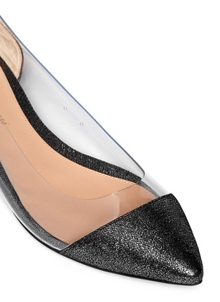 Detail View - Click To Enlarge - Gianvito Rossi - Clear PVC metallic foil suede flats
