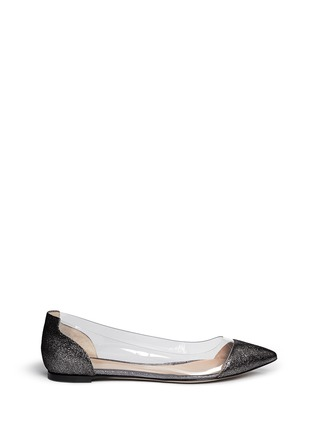 Main View - Click To Enlarge - Gianvito Rossi - Clear PVC metallic foil suede flats