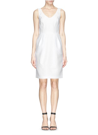 Main View - Click To Enlarge - Armani Collezioni - Textured half circle sheath dress