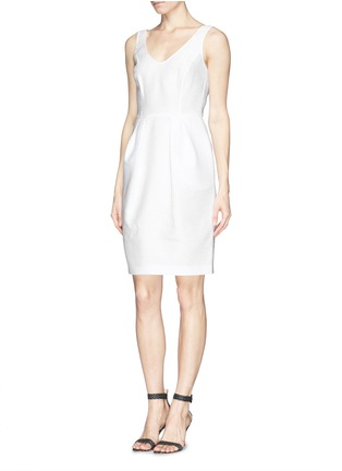 Figure View - Click To Enlarge - Armani Collezioni - Textured half circle sheath dress