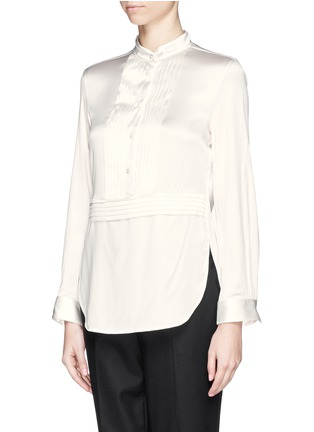 Front View - Click To Enlarge - Armani Collezioni - Pleat bib charmeuse blouse