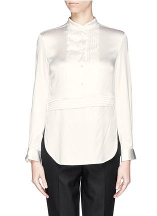 Main View - Click To Enlarge - Armani Collezioni - Pleat bib charmeuse blouse