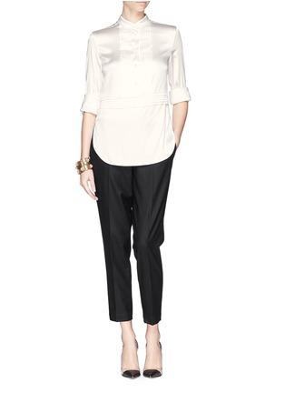 Figure View - Click To Enlarge - Armani Collezioni - Pleat bib charmeuse blouse