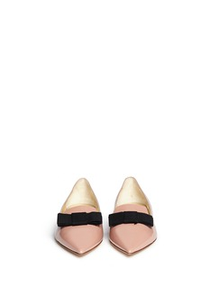 JIMMY CHOO 'Gala' grosgrain bow patent leather flats