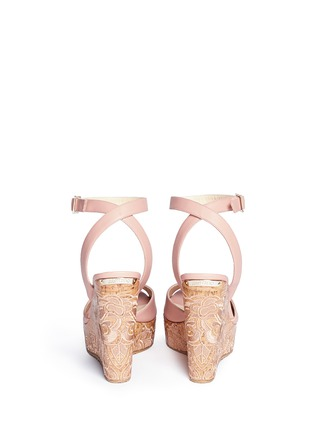 Back View - Click To Enlarge - Jimmy Choo - 'Patara' cork wedge leather sandals