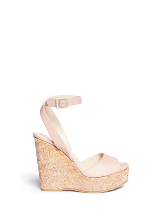 Main View - Click To Enlarge - Jimmy Choo - 'Patara' cork wedge leather sandals
