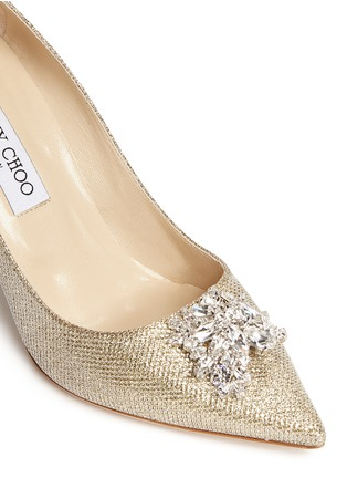 Detail View - Click To Enlarge - Jimmy Choo - 'Mamey' crystal toe brooch lamé glitter pumps