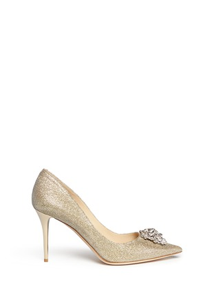 Main View - Click To Enlarge - Jimmy Choo - 'Mamey' crystal toe brooch lamé glitter pumps