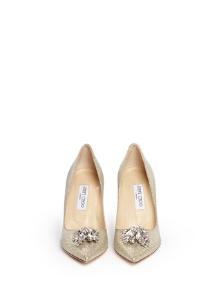 Figure View - Click To Enlarge - Jimmy Choo - 'Mamey' crystal toe brooch lamé glitter pumps