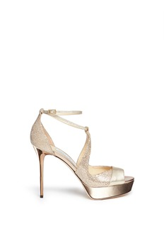 JIMMY CHOO 'Victor' glitter lamé mirror leather sandals