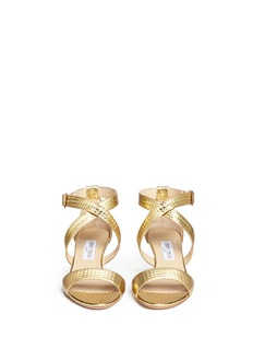 JIMMY CHOO'Chiara' cubed mirror leather sandals