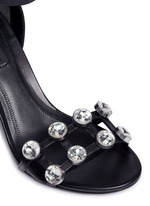 'Abby' cutout heel glass crystal leather sandals