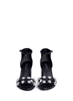 Front View - Click To Enlarge - Alexander Wang  - 'Abby' cutout heel glass crystal leather sandals