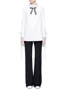 HELEN LEEStripe ribbon tie neck cotton blouse