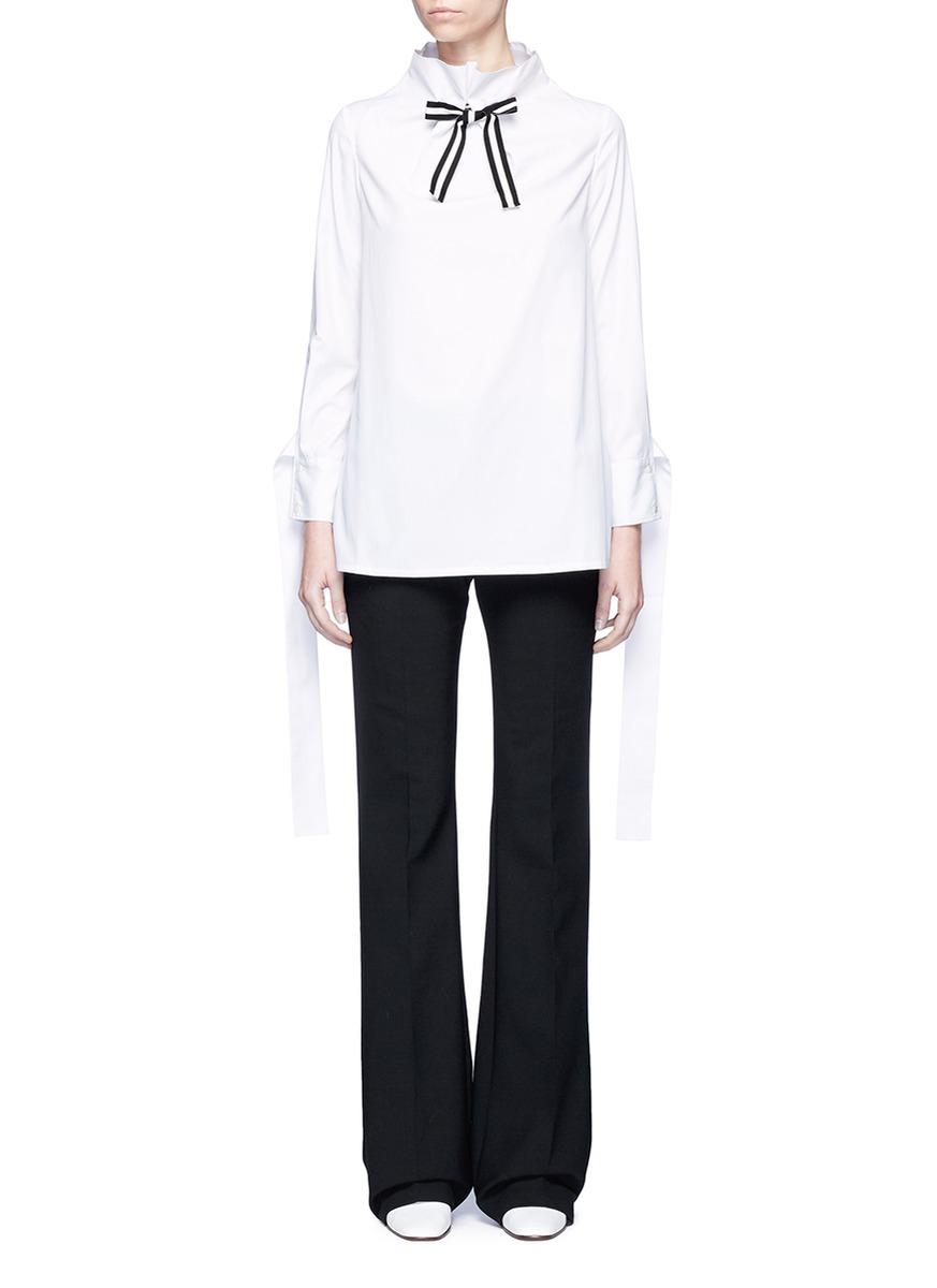 Stripe ribbon tie neck cotton blouse by HELEN LEE