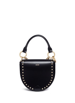 Detail View - Click To Enlarge - Sacai - 'Horseshoe' suede fringe stud leather bag