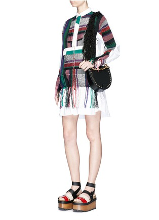 Front View - Click To Enlarge - Sacai - 'Horseshoe' suede fringe stud leather bag