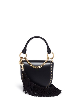 Main View - Click To Enlarge - Sacai - 'Horseshoe' suede fringe stud leather bag