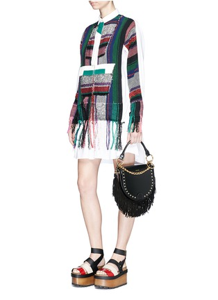 Figure View - Click To Enlarge - Sacai - 'Horseshoe' suede fringe stud leather bag