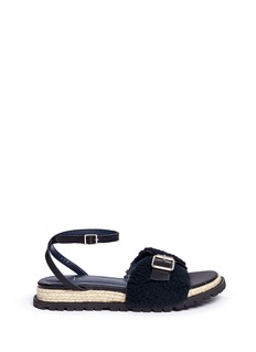 Sacai Leather ankle strap sheepskin shearling sandals