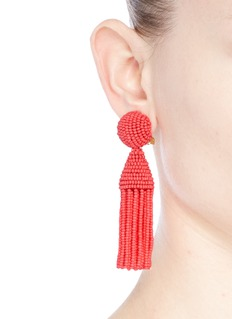 Oscar de la Renta 'Classic Short' beaded tassel drop clip earrings