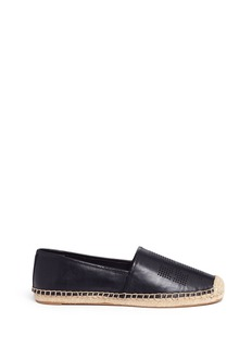 Tory Burch Perforated logo leather espadrilles
