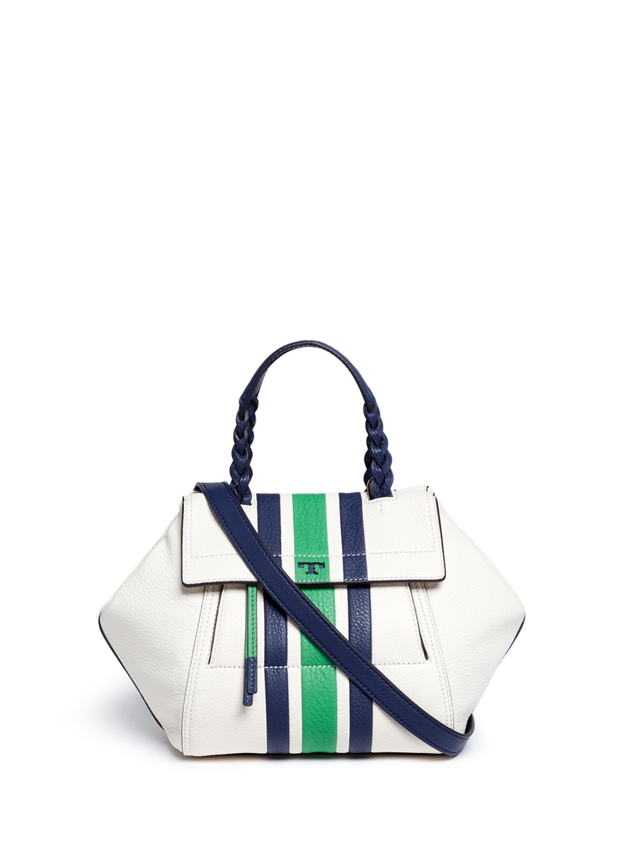 Half-Moon small stripe print leather satchel by Tory Burch