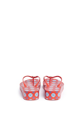 Back View - Click To Enlarge - Tory Burch - 'Thandie' logo print wedge flip flops