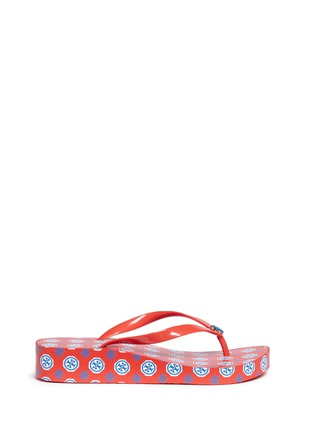 Main View - Click To Enlarge - Tory Burch - 'Thandie' logo print wedge flip flops