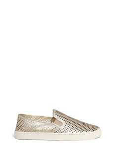 Tory Burch 'Jesse' perforated metallic leather slip-ons