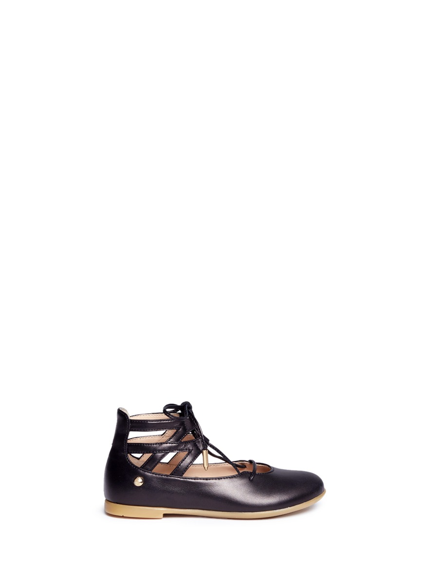 Belgravia Baby caged leather toddler flats by Aquazzura
